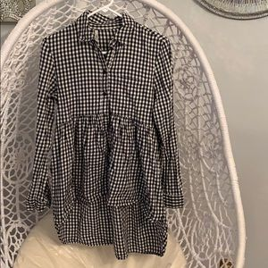 Zara Black & white gingham high low top skirt SM